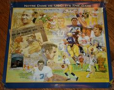 "Vintage NOTRE DAME Fighting Irish vs. USC Trojans FOOTBALL POSTER 22""x23.5"" New #NotreDame"