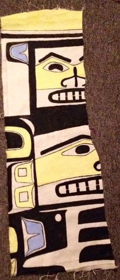 Painted chilkat design on canvas - made for a project