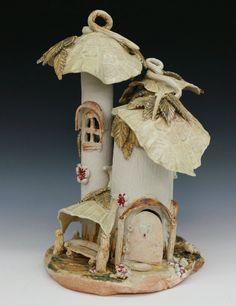 Ceramic Porcelain 3 Turret Fairy Garden House with by RJMceramics, $175.00