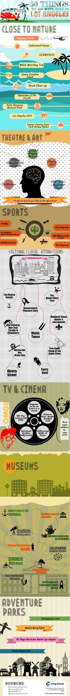 50 Things To Do With Kids In Los Angeles #Infographic  I miss LA!  I haven't been since ...in a long time!