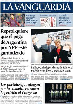 Los Titulares y Portadas de Noticias Destacadas Españolas del 27 de Noviembre de 2013 del Diario La Vanguardia ¿Que le pareció esta Portada de este Diario Español?