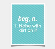 Definition of a Boy - Modern Nursery Art Print - Wall Art Poster - Baby Room - 8x10 - Stripe Custom Color Decor 8x10 - Funny Print