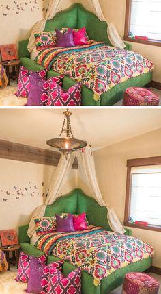 Bright Corner Bed   Click Pic for 21 DIY Bohemian Bedroom Decor Ideas for Teen Girls   DIY Dorm Room Ideas for Girls