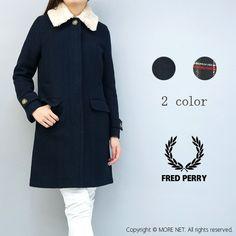 【送料無料】【FRED PERRY】【フレッドペリー】衿ボア付きステンカラーコートF6196(2色)レディース ネイビー ハウスタータン チェック メルトン ウール 毛 ミディアム|ROOM - my favorites, my shop 好きなモノを集めてお店を作る