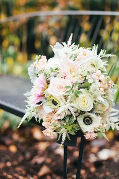 Two Brothers Wedding, Pastel Bridal Bouquet with roses, astilbe, anemone & greenery.  Photo: Pam Cooley