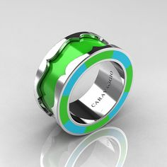 Caravaggio 14K White Gold Lime Green and Turquoise Blue Italian Enamel Wedding Band Ring R618F-14KWGTBLGEN
