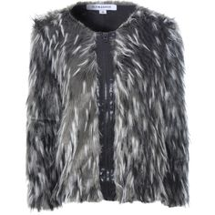 Black And White Exposed PU Zip Faux Fur Coat ($105) ❤ liked on Polyvore featuring outerwear, coats, jackets, pink, zipper coat, collarless coat, pink fake fur coat, black and white coat and long sleeve coat