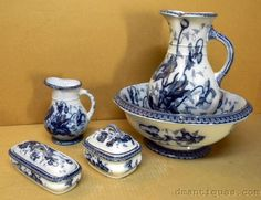 c1840's SAM ALCOCK FLOW BLUE POPPY PATTERN 5pc VANITY SET WASH BOWL PITCHER SOAP