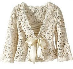 Beautiful crochet cardigan.  Charts included, but instructions in Portuguese. - It does have a translator at the top of the page though so easy to fix.