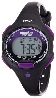 Timex Sport Ironman Black and Purple Mid Size 10 Lap Watch (Black/Purple) Watches Timex Ironman Triathlon, Digital Sports Watch, Digital Watch, Timex Indiglo, Timex Watches, Discount Shoes, Iron Man, Size 10, Purple