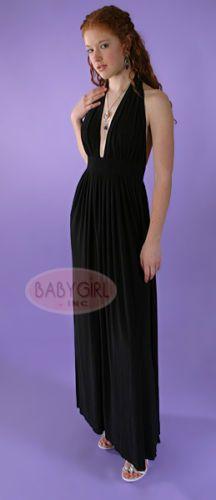 d69119a121 1970 s Vintage Reproduction Black Jersey Knit Long Halter Prom Dress SZ  SMALL