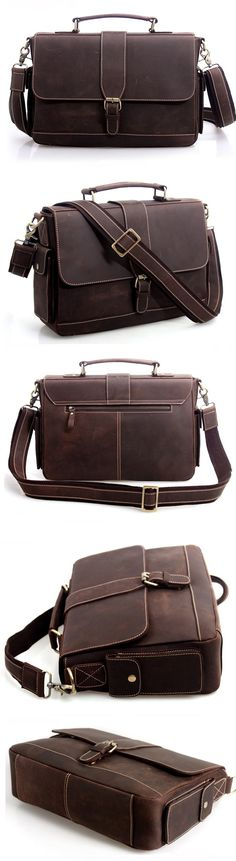 High quality crazy horse leather men's briefcase messenger shoulder bag laptop Macbook Ipad Case
