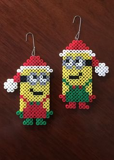 Minions Inspired 8 Bit Ornament Set via eb.perler. Click on the image to see more!