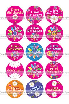 "1"" Circles Daisy Girl Scouts Printables Etsy - SunbeamFlowTemplates"