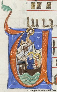 Christ: appearing at Tiberias within in initial U | Gradual | Italy | ca. 1260-1270 | The Morgan Library & Museum