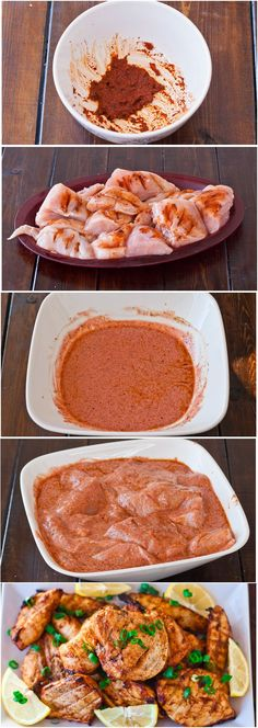 Baked Tandoori Chicken | Homemade Food Recipes (skip the food coloring). Nourishment for your beauty health. Comment below.