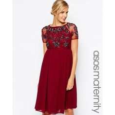 ASOS Maternity Skater Dress With Embellishment ($36) ❤ liked on Polyvore featuring maternity, dresses and berry