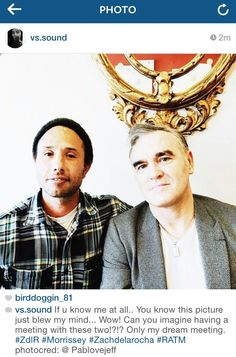 Morrissey meets with Elektra Records president and Zach de la Rocha.