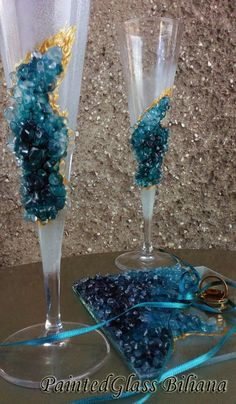 Geode wedding theme Set of 2 hand painted by PaintedGlassBiliana