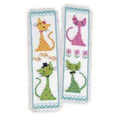Colorful Cats Bookmarks Counted Cross Stitch 101 Designs
