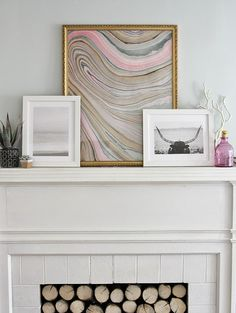 DIY Marble Paper Artwork by The Lovely Cupboard via The House that Lars Built