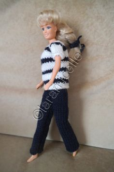 Free barbie tutorial: striped short sleeve