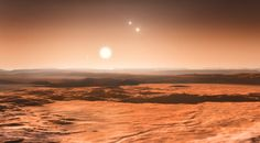 Three Super Earths Discovered in Gliese 667C. The view from the exoplanet Gliese 667Cd looking towards the planet's parent star (Gliese 667C). In the background to the right the more distant stars in this triple system (Gliese 667A and Gliese 667B) are visible and to the left in the sky one of the other planets, the newly discovered Gliese 667Ce, can be seen as a crescent. This is the first system found with a fully packed habitable zone. Credit: ESO/M. Kornmesser.