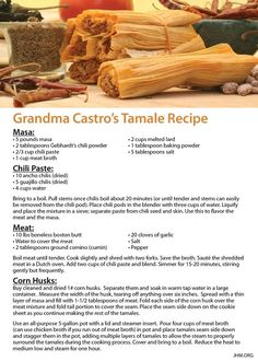 Grandma Castro Tamale recipe https://www.facebook.com/JohnHageeMinistries/photos/a.437513197517.228831.64742342517/10152904274247518/?type=1