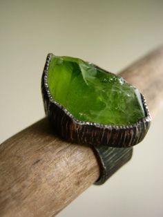 Big Rough Peridot Birch Bark Ring Sterling Silver Rustic Oxidized