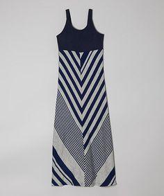 Look at this #zulilyfind! Navy & Heather Gray Chevron Maxi Dress - Toddler & Girls by Retro Rags #zulilyfinds