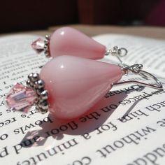 Rose Pink Drop Earrings #etsyfollow #rose #pink #crystal #earrings #handmade #jewelry #dangle #silver #swarovski $10.00