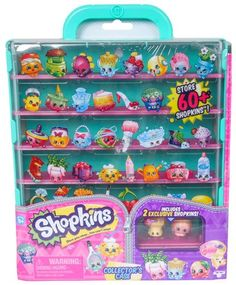 Store and Show on the Go with the Shopkins Collector's Case! Display over 60 of your favorite Shopkins or flip the shelves for even more storage! Decorate and label your case with the stickers that are included! Shopkins Playsets, Shopkins Game, Shopkins Season 5, Shopkins Gifts, Toys For Girls, Kids Toys, Lol Dolls, Birthday Wishlist, Dorms Decor