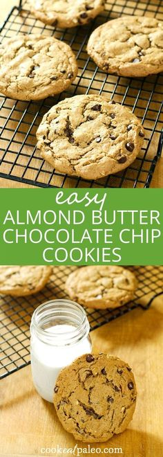 These easy almond butter chocolate chip cookies are gluten-free, grain-free, and dairy-free with just 5 ingredients. A perfect quick dessert recipe. ~ http://cookeatpaleo.com