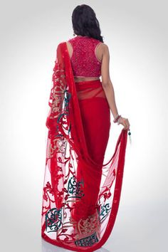 Red saree with velvet kadhai on the pallu | Satya Paul
