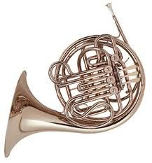 Playing the French horn.
