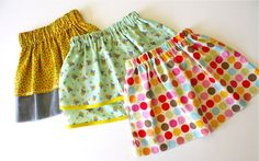 TUTORIAL: a simple skirt | MADE  I have made these skirts and they are easy to make.   I have added ribbons, buttons, flowers, frills, bows. Made them with 2-5 different fabric on the one skirts-looked great.