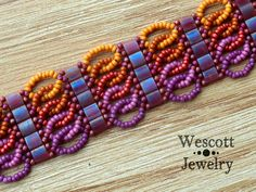 Beadweaving Pattern for Ruched Tila Bracelet Cuff with Two Hole Miyuki Tila Beads or Miyuki Half-Tila Beads or Czechmate Tiles and Seed Bead - jewelry diy bracelets Beads Jewelry, Seed Bead Bracelets, Diy Jewelry, Handmade Jewelry, Jewelry Making, Jewelry Ideas, Making Bracelets, Seed Beads, Jewelry Accessories