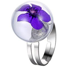 Glass Ball Dry Flower Cuff Ring (180 RSD) ❤ liked on Polyvore featuring jewelry, rings, flower jewellery, cuff jewelry, flower rings, blossom jewelry and ball ring