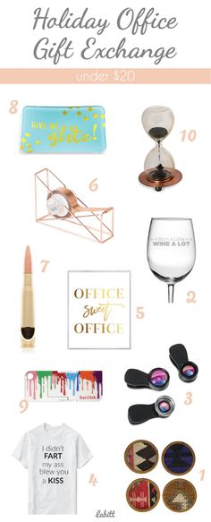 Holiday Office Gift Exchange Ideas Under $20. office gifts. gifts for coworkers.