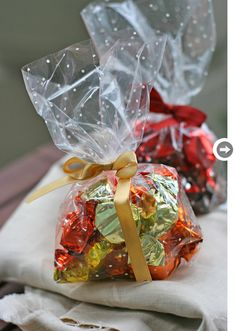 cellophane bags and pretty ribbons jazz up store-bought candies making a pretty, personalized gift