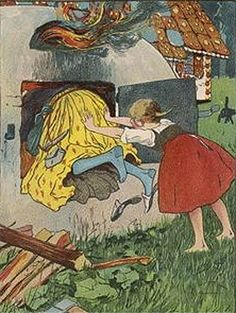 Why is it girls and women never get the credit? Gretel killed the witch and saved her fattened up brother. Hans Gretel, East Of The Sun, Naive, Grimm Fairy Tales, Fairytale Art, Beautiful Stories, Illustrations, Nursery Rhymes, Childrens Books