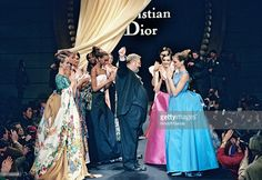 Gianfranco Ferre and models - Dior Haute Couture fashion show spring summer 1994 in Paris.