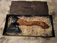 Special Edition Axe Wolf with Carved Handle by AuthenticSiberia