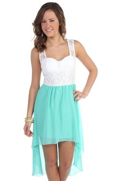 casual tank dress with solid chiffon high low and lace bodice in mint
