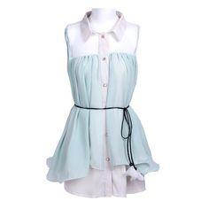 Green Lapel Sleeveless Belt Pleated Chiffon Dress ($31) ❤ liked on Polyvore