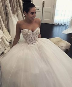 Puffy Sweetheart Neckline Tulle Ball Gown Wedding Dresses, Sexy Bridal Dress sold by Tidedress. Shop more products from Tidedress on Storenvy, the home of independent small businesses all over the world. Western Wedding Dresses, Sexy Wedding Dresses, Bridal Dresses, Wedding Gowns, Modest Wedding, Elegant Dresses, Lace Wedding, Wedding Venues, Wedding Ideas