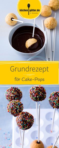 Cake-Pops basic recipe-Cake-Pops Grundrezept Sweet and so easy to prepare. Cake pops are small balls made of cake batter and speared on a stick. The pops are covered with chocolate or frosting and nicely decorated. Easy Cake Recipes, Healthy Dessert Recipes, Chocolate Recipes, Chocolate Cake, Base Cake, Snacks Sains, Cake Batter, Savoury Cake, Food Cakes