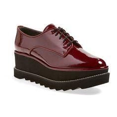"""Stuart Weitzman'Pipekent' PlatformOxford, 2 1/2"""" heel ($445) ❤ liked on Polyvore featuring shoes, oxfords, cranberry aniline, mid heel shoes, laced up shoes, platform oxford shoes, stuart weitzman and stuart weitzman shoes"""