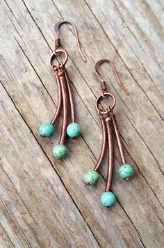 Turquoise and Copper Tube Earrings / E078 by Lammergeier on Etsy, $26.00