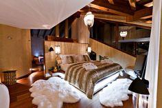 Chalet Zermatt Peak – Perfectness of Six-Star Boutique Chalet in Switzerland: Bedroom With Pendant Lamp In Charlet Zermatt Peak Luxury Boutique